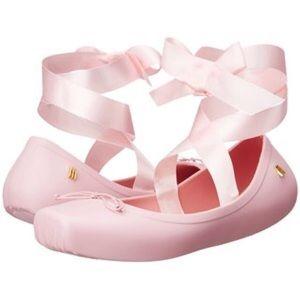 Melissa Pear Pink Ballet Ribbon Flats